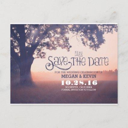 String lights tree enchanted save the date announcement