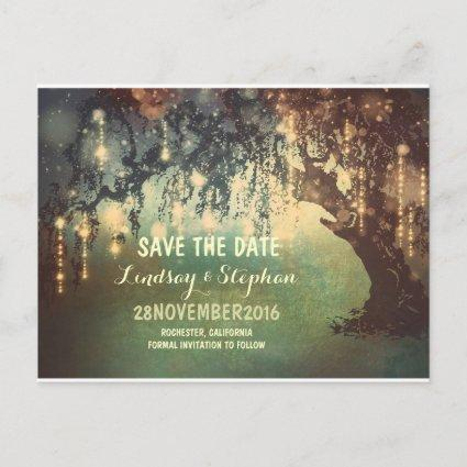 string lights tree rustic save the date Cards