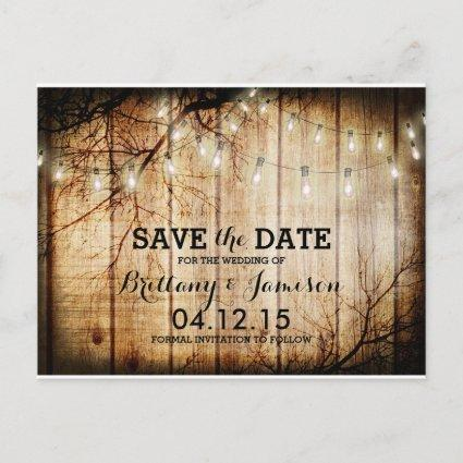 String Lights Tree Vintage Barn Wood Save the Date Announcement