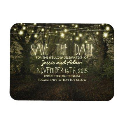 String lights trees path rustic save the date magnet