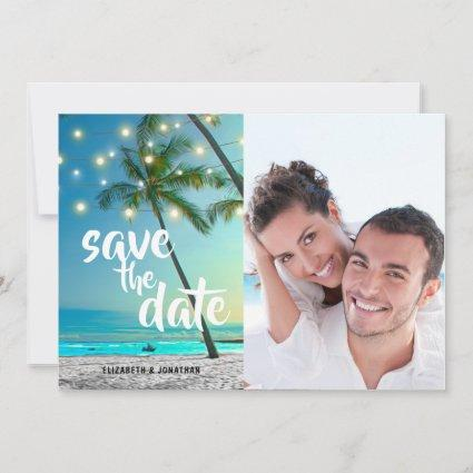 String Lights Tropical Beach Save The Date Photo