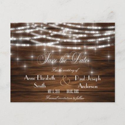 String lights wood Save the Date Announcement
