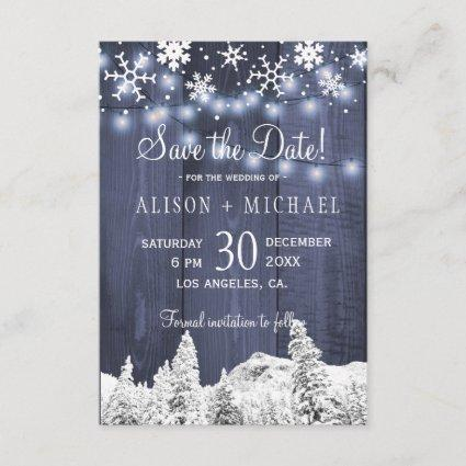 String lights wood snowflakes save date wedding save the date