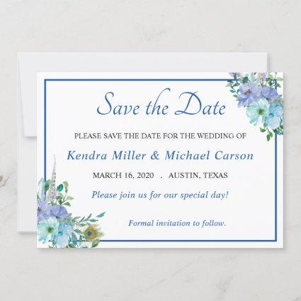 Stunning Sapphire Blue Floral Save The Date