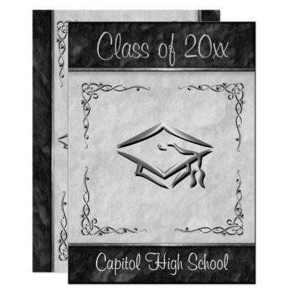 Silver graduation save the date cards save the date cards stylish black and white graduation invitations filmwisefo Choice Image