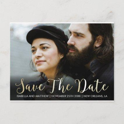 Stylish Bold Champagne Save The Date Image Announcement