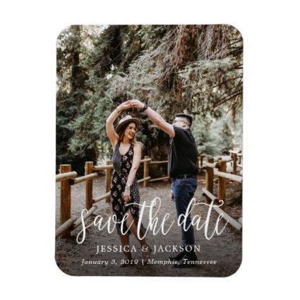 Stylish Brush Script Save the Date Magnet