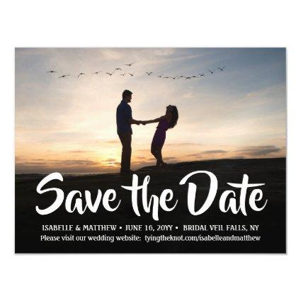 Stylish Calligraphy Photo Wedding Save the Date Magnetic Invitation