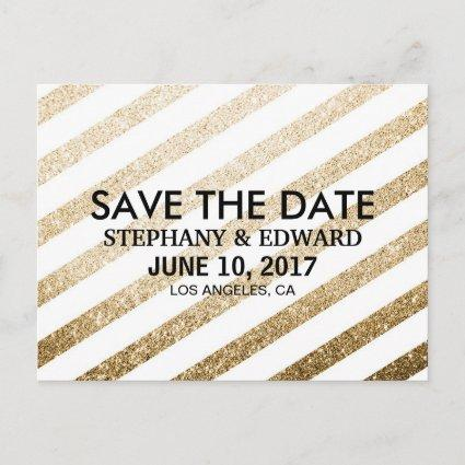 Stylish Faux Gold Glitter Save the Date Cards