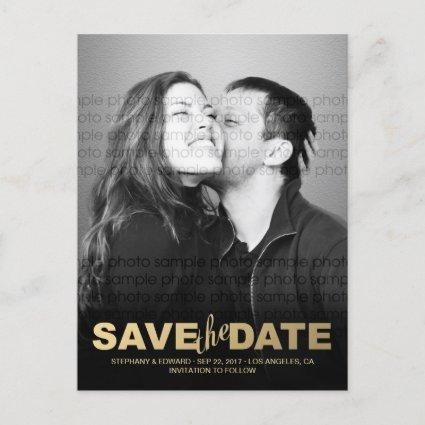 Stylish Faux Gold Save the Date Photo Cards