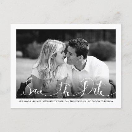 Stylish Fresh White Save the Date Photo Cards