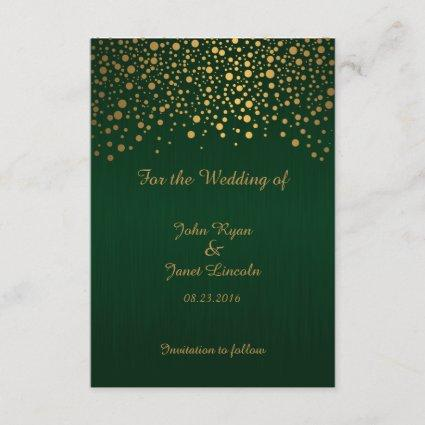 Stylish Gold Confetti Dots | Dark Green Save The Date