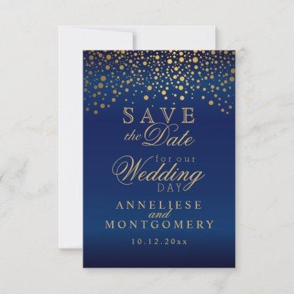 Stylish Gold Confetti Dots | Navy Blue Satin Save The Date