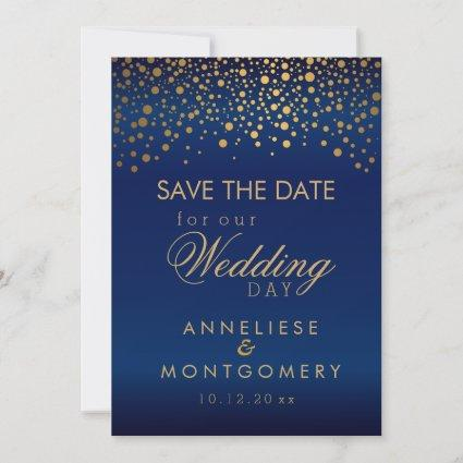 Stylish Gold Confetti Dots on Navy Blue Satin Save The Date