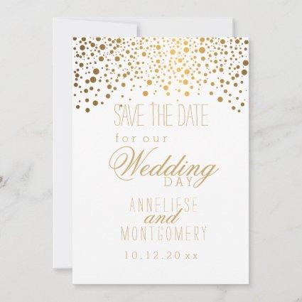 Stylish Gold Confetti Dots on White Save The Date