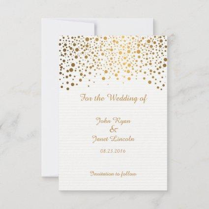 Stylish Gold Confetti Dots | White Background Save The Date