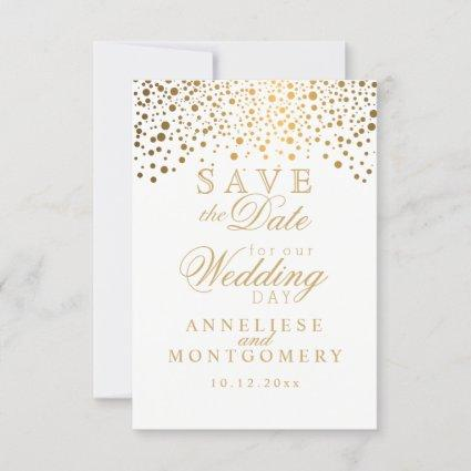 Stylish Gold Confetti Dots | White Save The Date