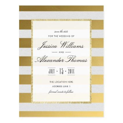 Stylish Gold & White Stripes Wedding