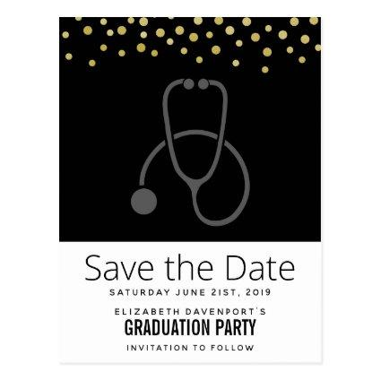 Stylish Graduation Party Stethescope Save the Date Cards