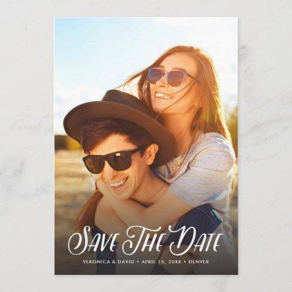 Stylish Handwritten Photo Save The Date