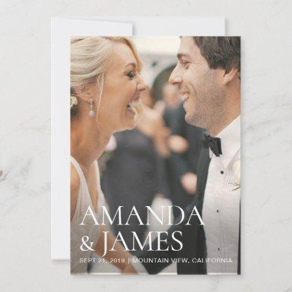 Stylish Modern Photo Wedding Save the Date Card
