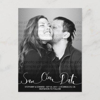 Stylish Modern Script Save Our Date Photo Cards