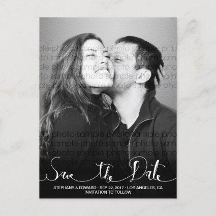 Stylish Modern Script Save the Date Photo Cards