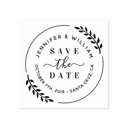 Stylish Modern Wreath & Cute Script Save The Date Rubber Stamp