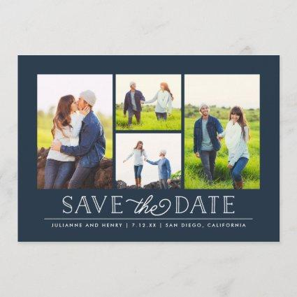 Stylish Navy 4 Photo Save the Date