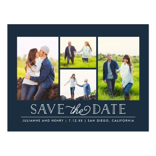 Stylish Navy 4 Photo Save the Date Cards
