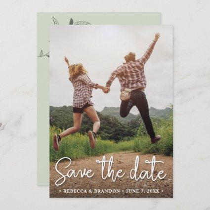 Stylish Rustic Double Sided Save The Date Photo