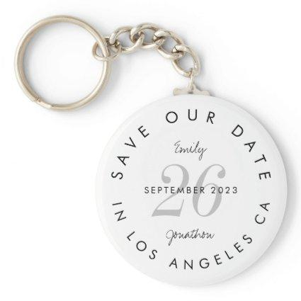 Stylish Save the Date Tinted Day Black Text Names Keychain