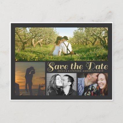 Stylish Script Grey Save The Date Collage Cards