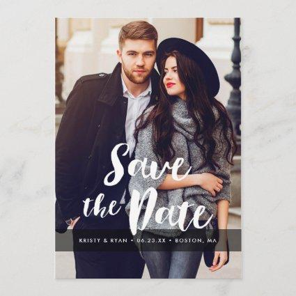 Stylish Script Overlay Save The Date Photo