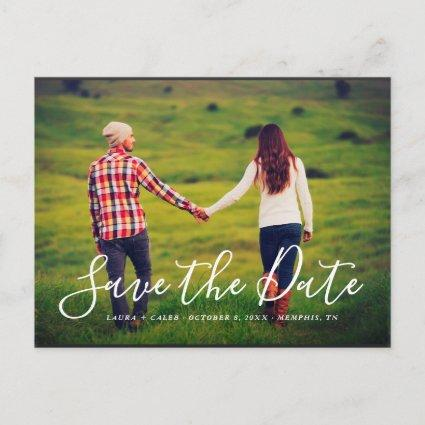 Stylish Script Photo Overlay Save the Date Announcements Cards