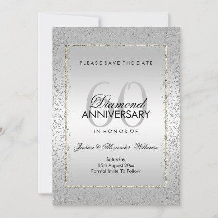 Stylish Silver Confetti 60th Wedding Save The Date