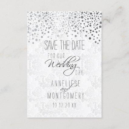 Stylish Silver Confetti Dots | White Texture Save The Date