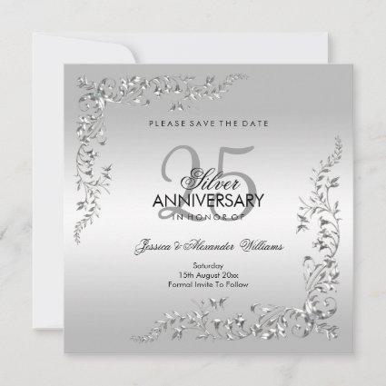 Stylish Silver Decoration 25th Wedding Anniversary Save The Date