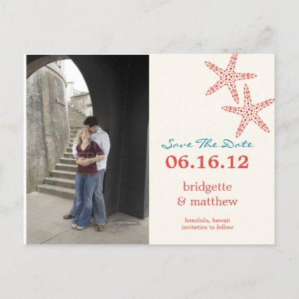 Stylish Starfish Photo Save The Date Cards