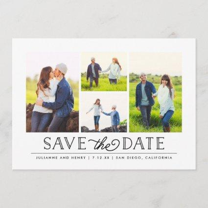 Stylish White 4 Photo Save the Date