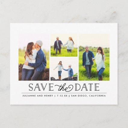 Stylish White 4 Photo Save the Date Cards
