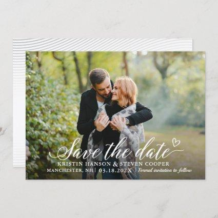 Stylish White Script Photo Save The Date Card