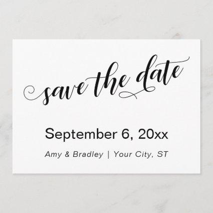 Subtle, Chic Typography on White Save the Date