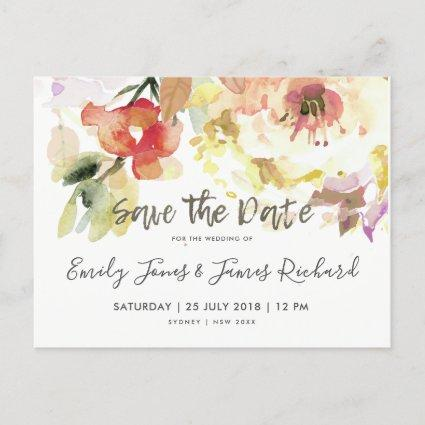 SUBTLE PEACH PINK WATERCOLOR FLORAL SAVE THE DATE ANNOUNCEMENT
