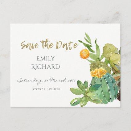SUCCULENT CACTUS FLORAL WATERCOLOR  SAVE THE DATE ANNOUNCEMENT