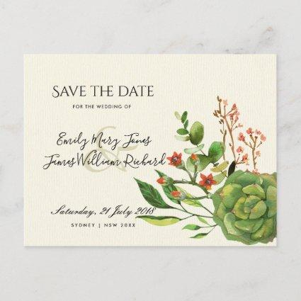 SUCCULENT CACTUS ORANGE WATER SAVE THE DATE ANNOUNCEMENT