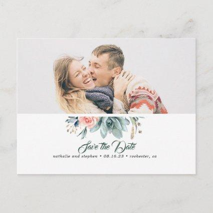 Succulent Greenery Pink Rose Save the Date Photo Announcement