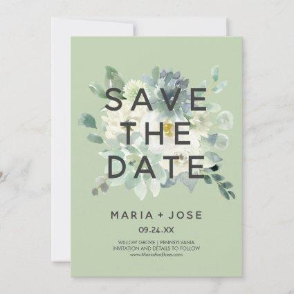 Succulent Greenery Save the Date Card
