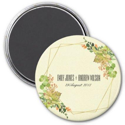 SUCCULENT WREATH FLORAL WATERCOLOR SAVE THE DATE MAGNET
