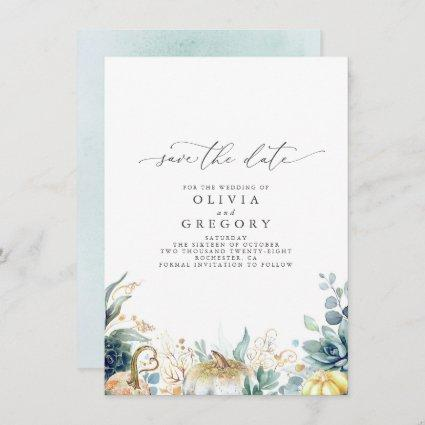 Succulents and Gold Pumpkins Fall Save The Date Announcement